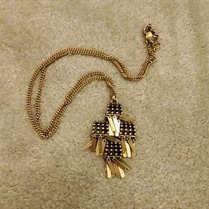 J.Crew bronze tone long fringe boho cross necklace